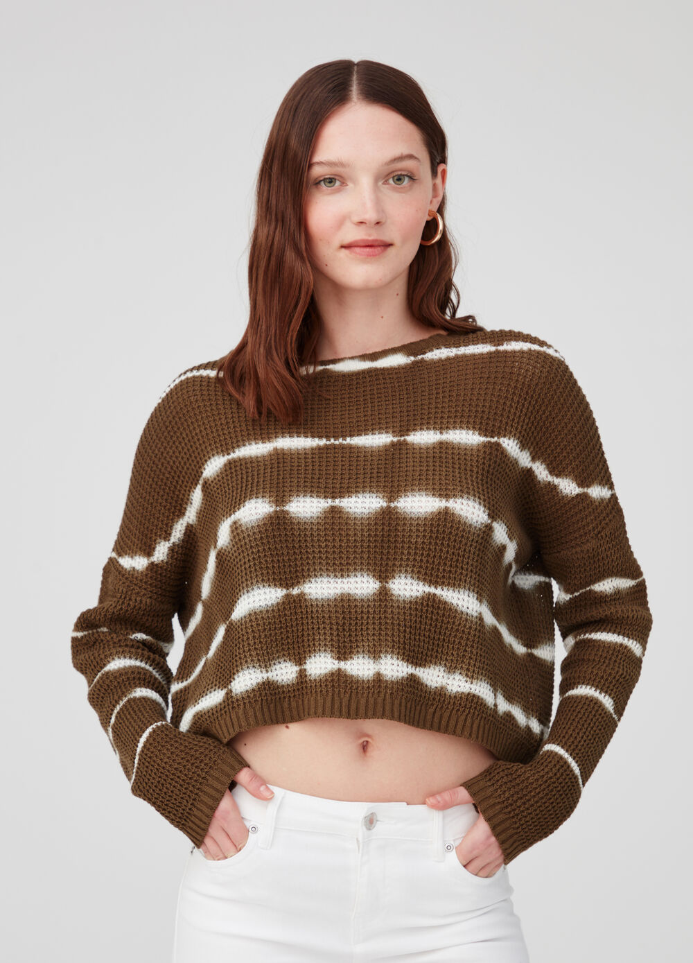 Striped cotton crop pullover