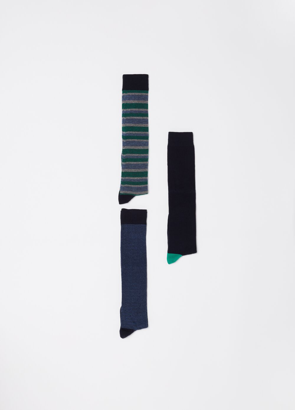 Three-pair pack long stretch socks with ribbing