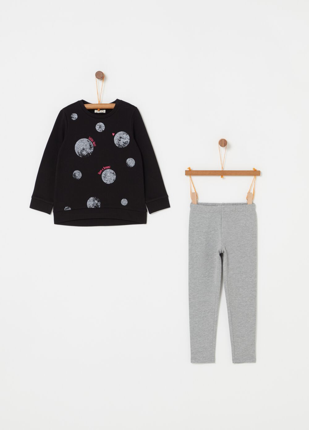 Jogging set in cotton with glitter moon print