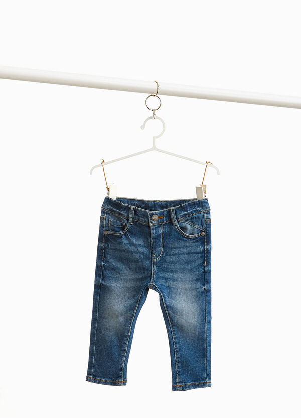 Worn-effect, stretch jeans with whiskering