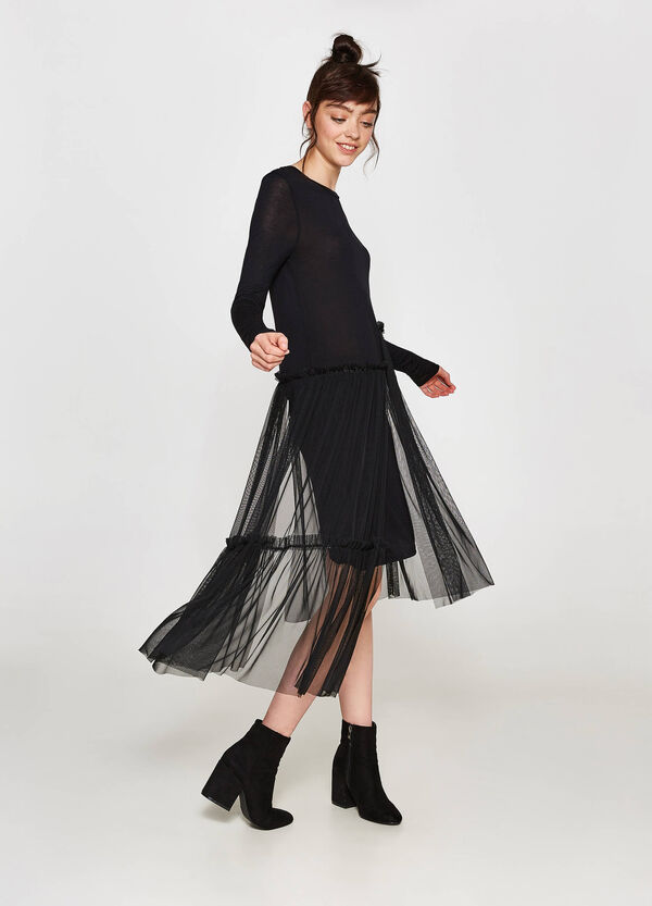 Dress in 100% viscose with tulle