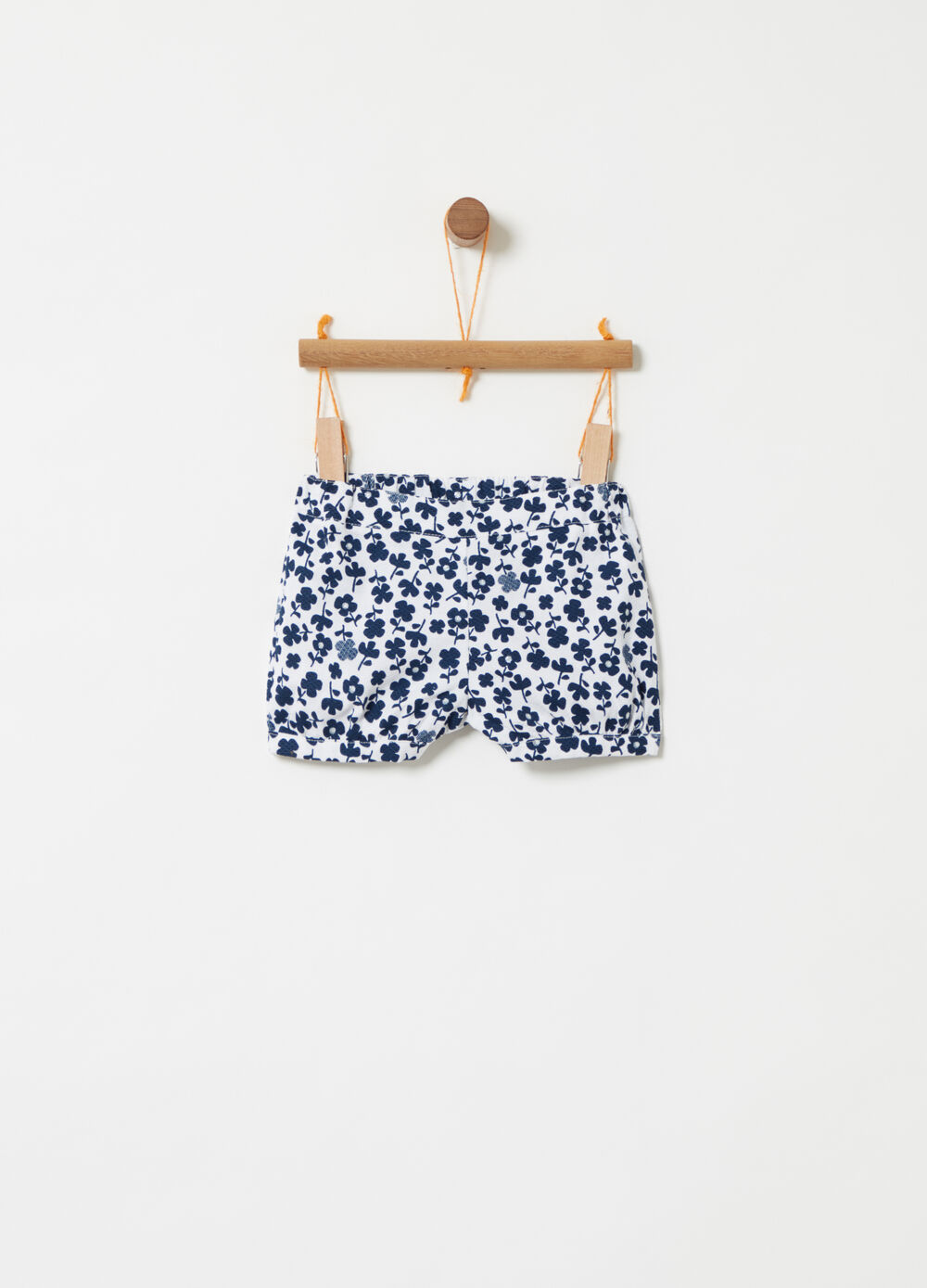 Organic cotton shorts with floral print and glitter