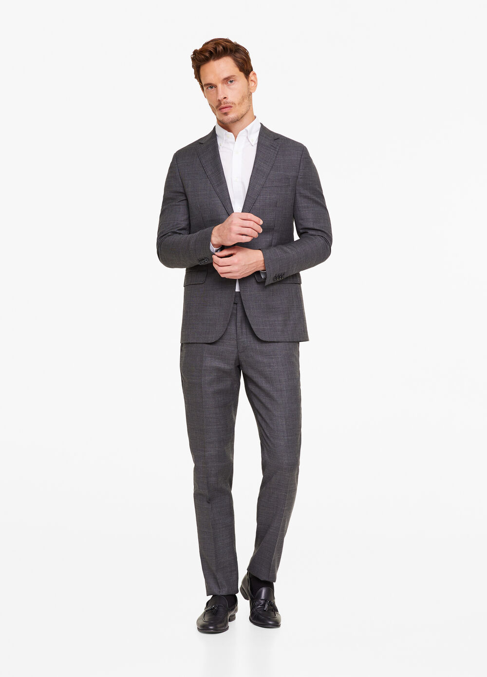 Regular-fit suit in 100% wool