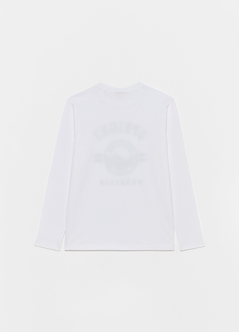 T-shirt with printed lettering and long sleeves image number null