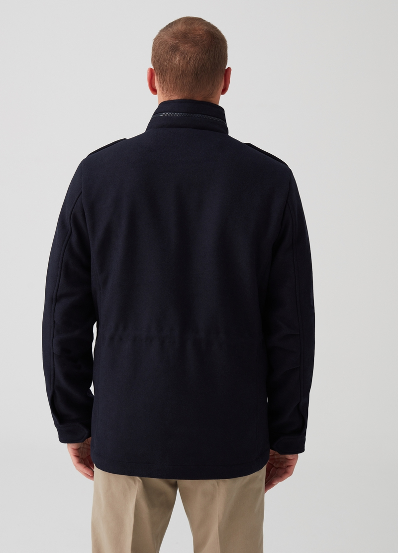 Wool blend jacket with high neck and pockets image number null