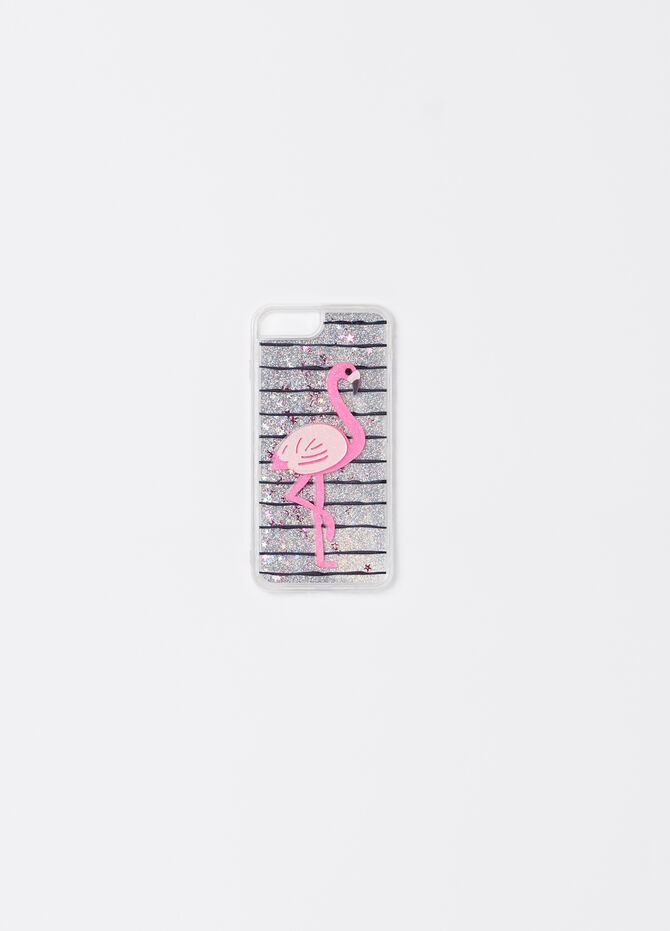 Glitter telephone cover with flamingo
