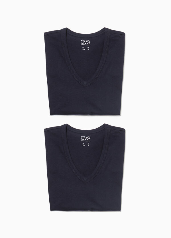Set due t-shirt intime in jersey scollo a V