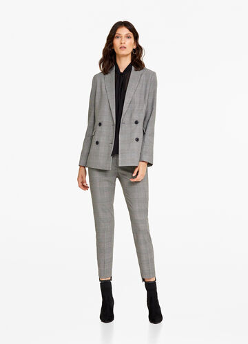 Check cigarette pants with crease