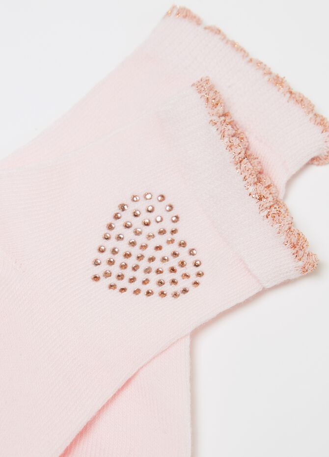 Two-pair pack short socks with diamantés and glitter