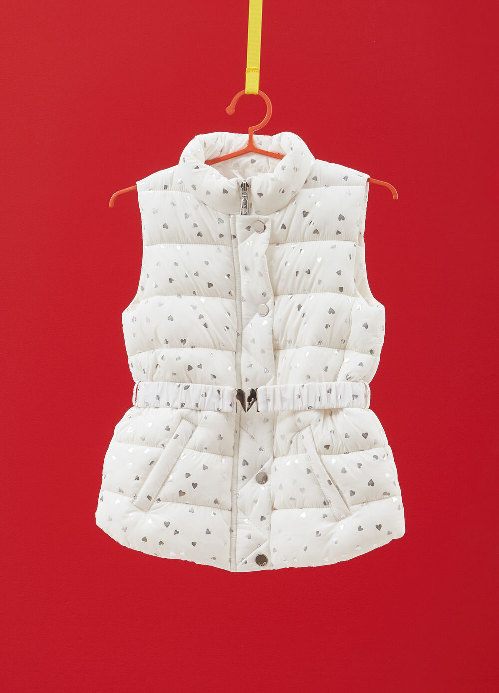 Gilet a collo alto stampa cuori all-over