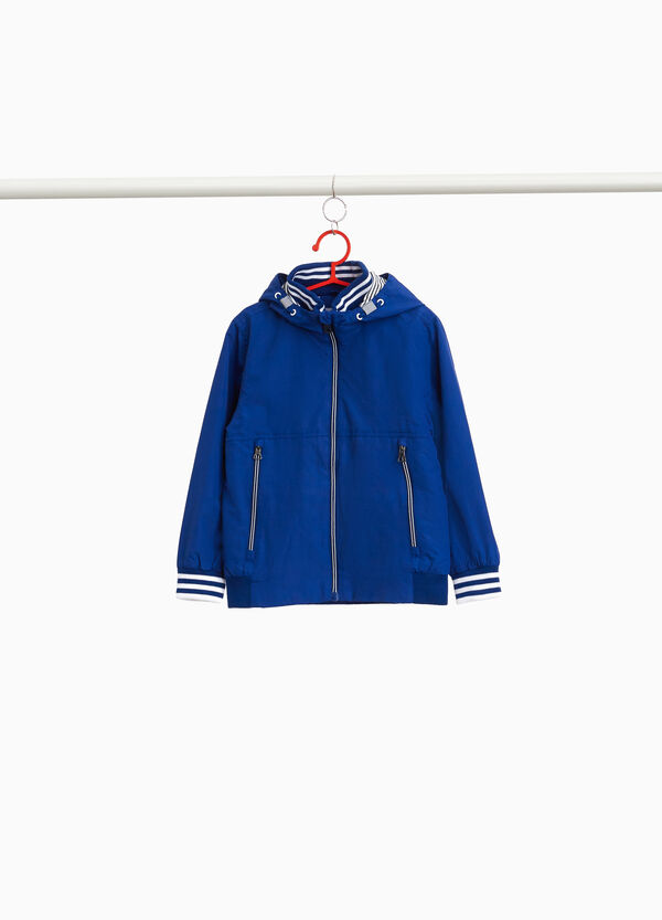 Jacket with high neck and striped ribbing