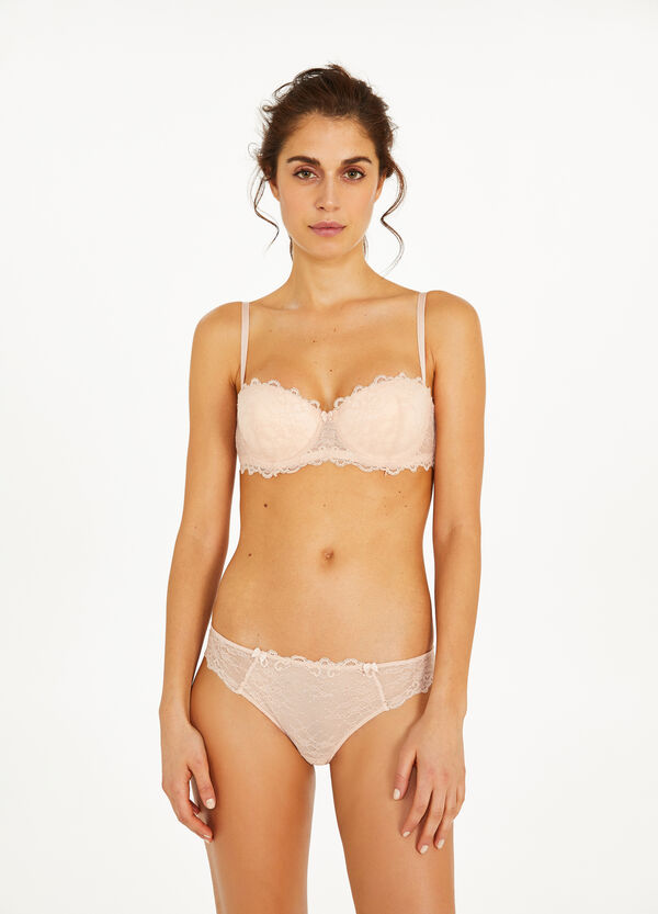 Stretch lace briefs with bows