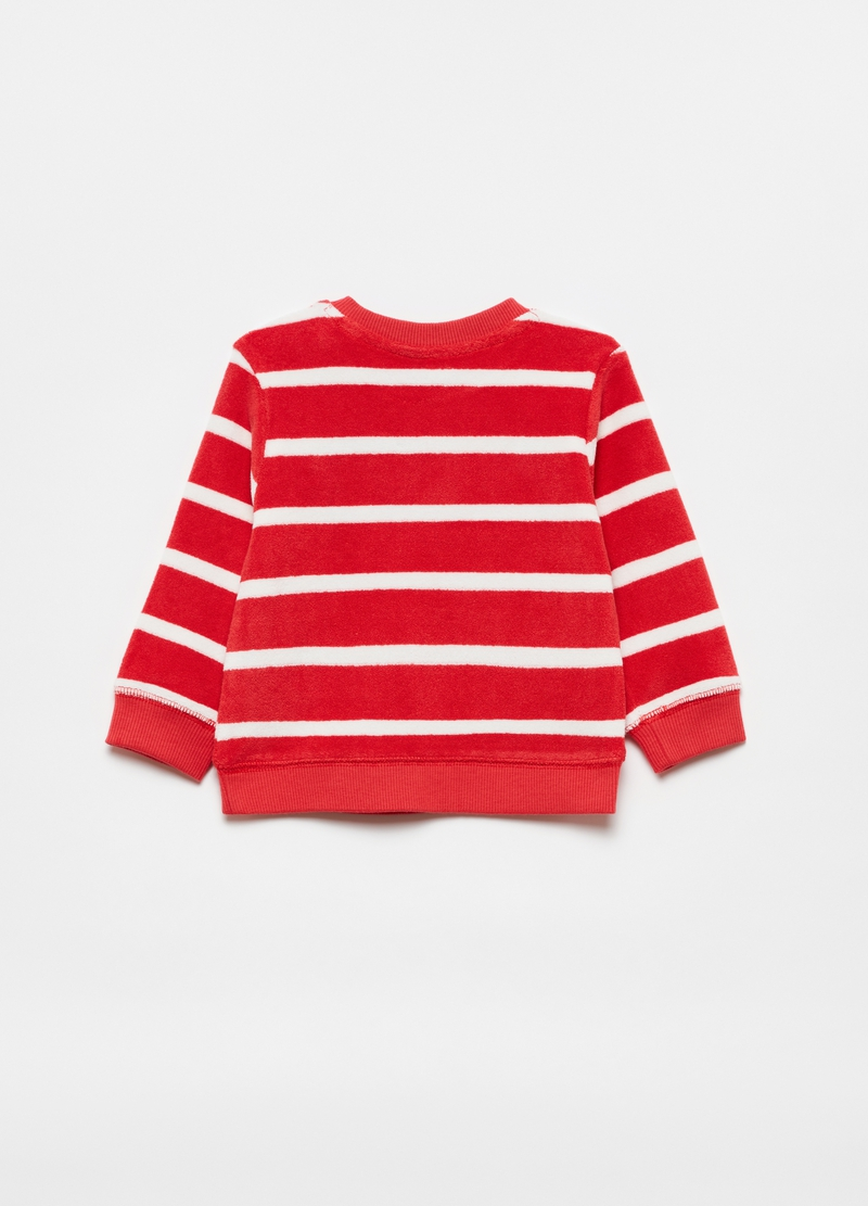 Striped terry sweatshirt with lettering patch image number null