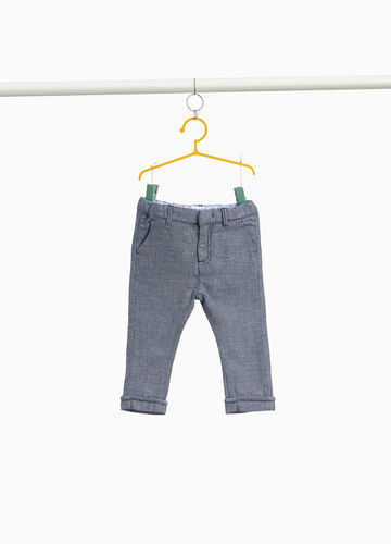 Cotton and linen trousers with micro pattern