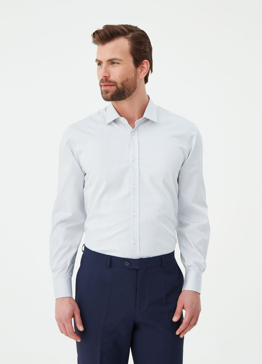 Compact-weave regular-fit shirt in cotton