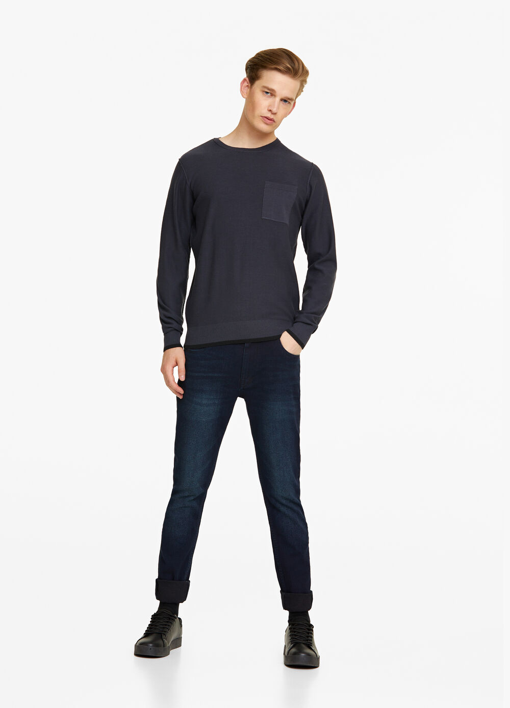 Cotton blend pullover with pocket
