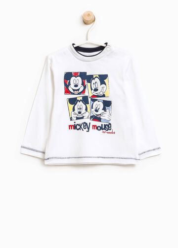 T-shirt in cotone con stampa Mickey Mouse
