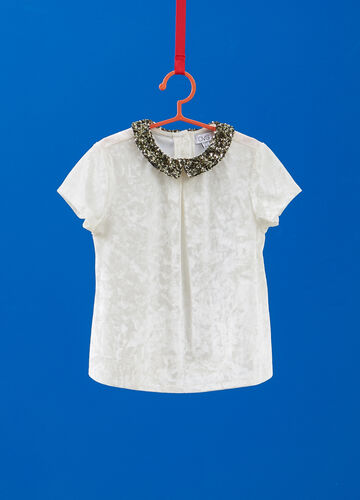 Chenille T-shirt with sequinned collar