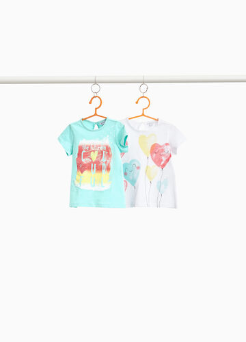 Two-pack cotton T-shirts with hearts print