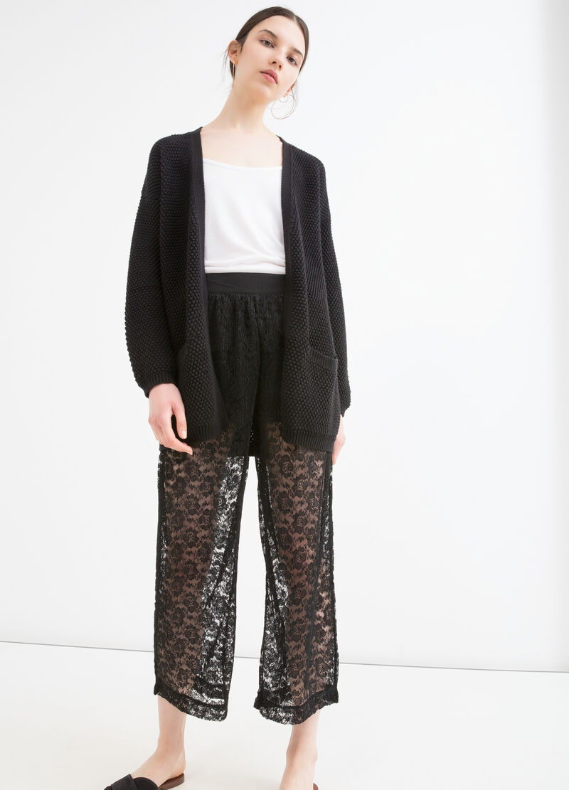 Lace trousers with high waist