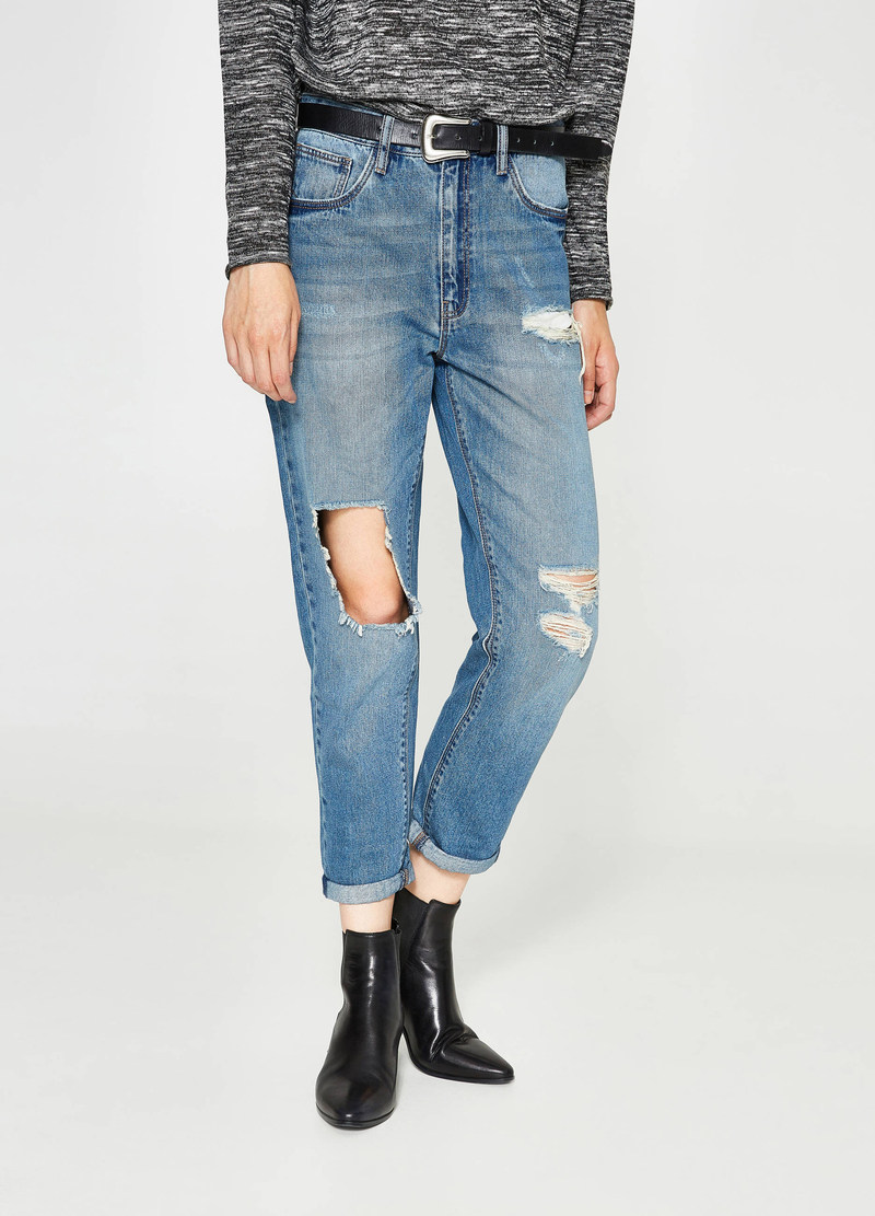 Jeans boyfriend fit used con strappi image number null