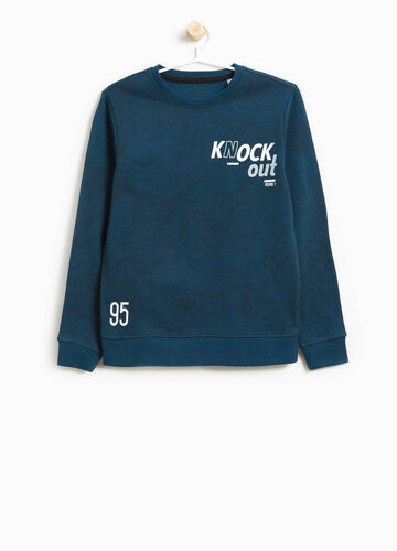 Cotton sweatshirt with lettering print and pattern