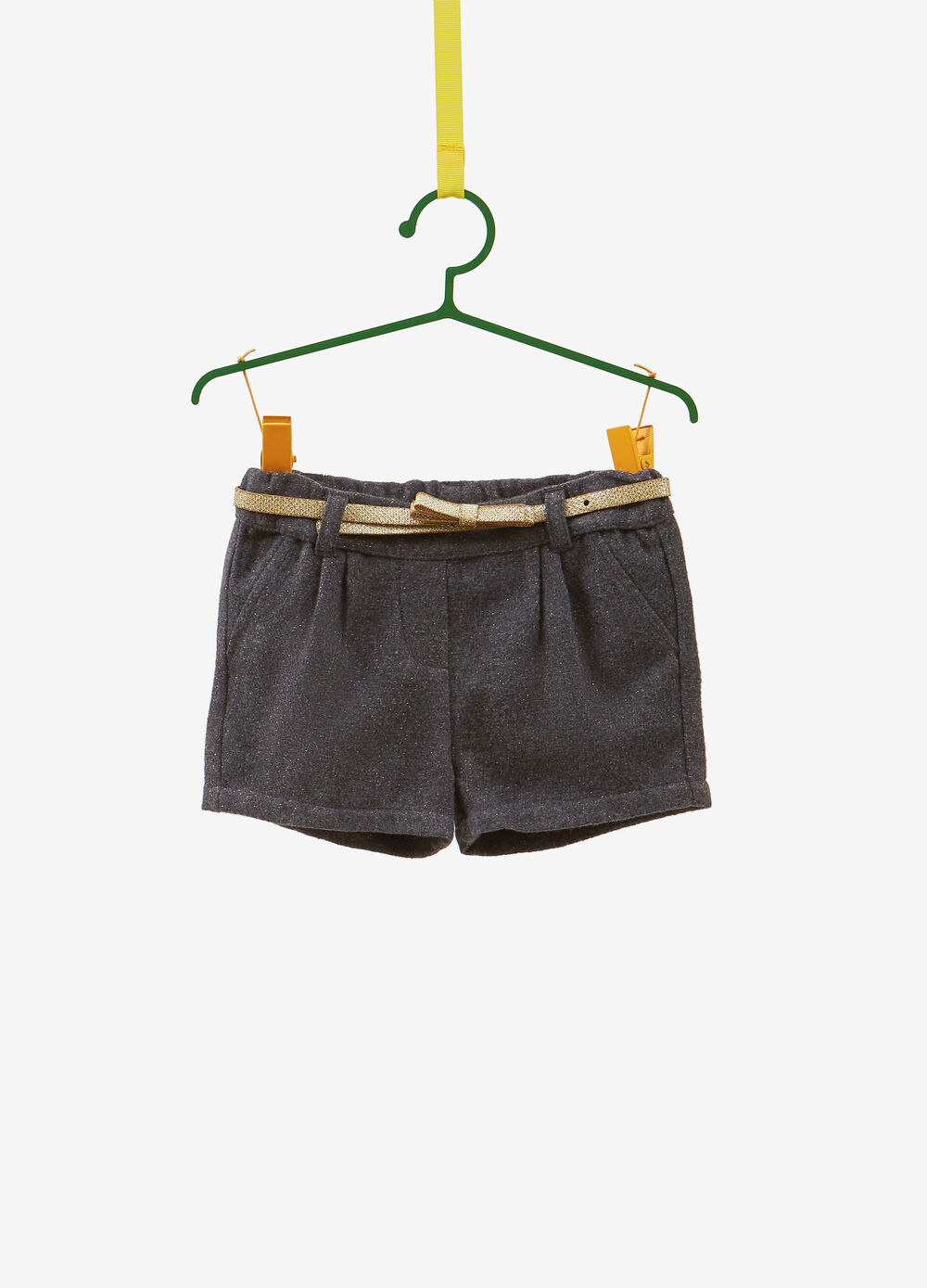 Shorts with lurex and glitter belt
