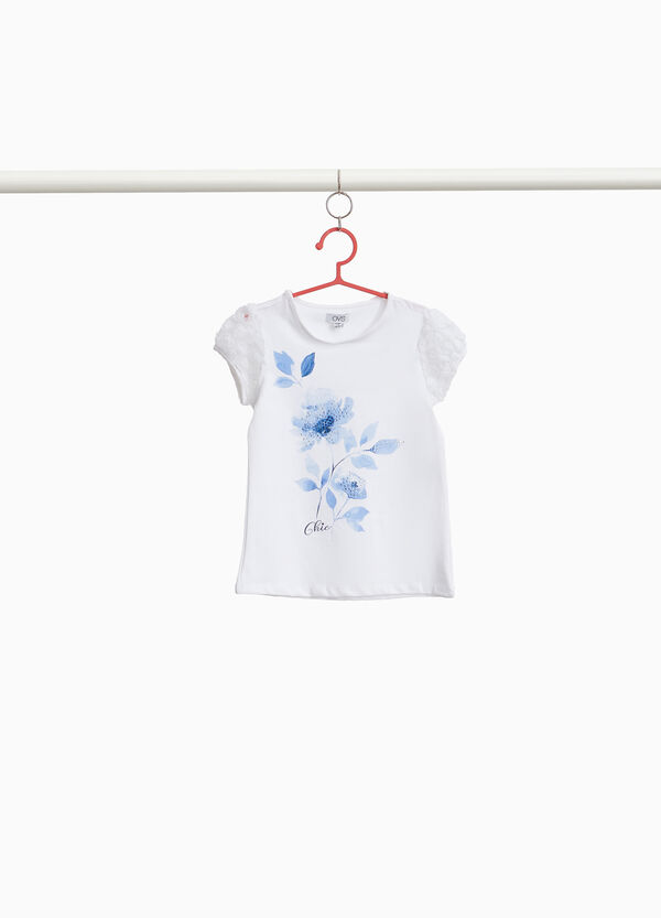 T-shirt maniche in tulle floreali