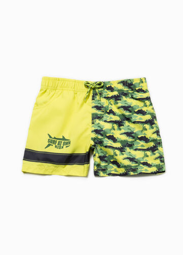 Camouflage beach shorts with print