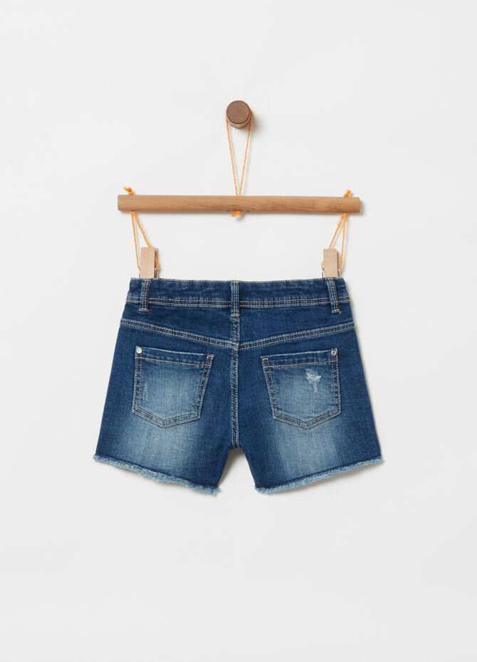 Shorts in denim effetto used stampa