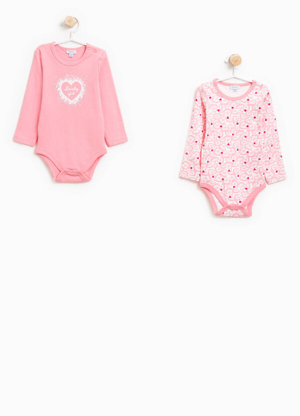 Two-pack organic cotton bodysuits with hearts | OVS