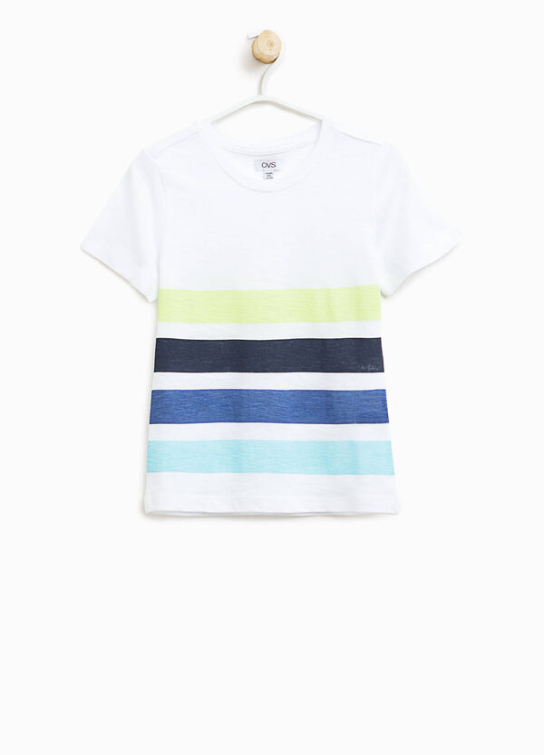 T-shirt in cotone stampa a righe | OVS