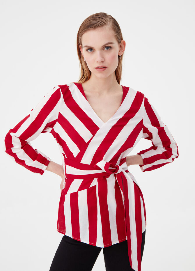 100% cotton crossover blouse with stripes