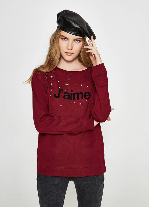 Cotton sweatshirt with printed lettering and diamanté design | OVS