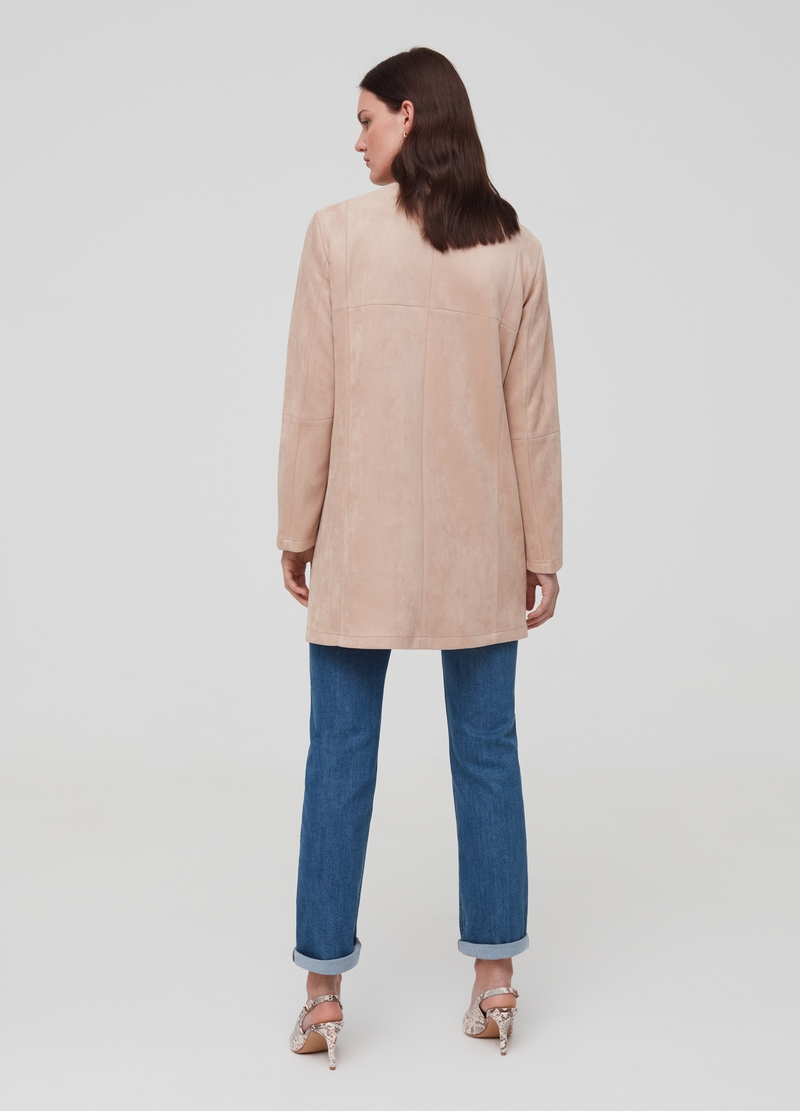Faux suede jacket with zip image number null