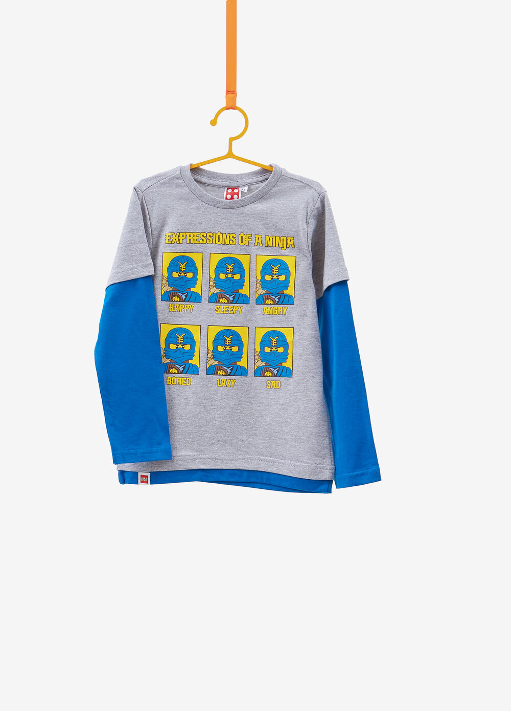 Faux-layered cotton T-shirt with Lego print