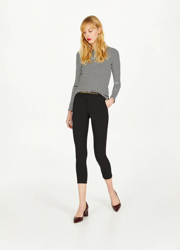 Stretch viscose blend crop trousers