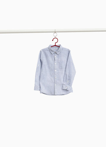 Linen and cotton striped pattern shirt