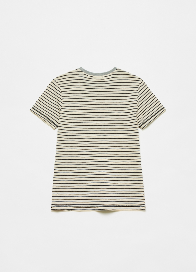 Cotton T-shirt with lettering and palms image number null