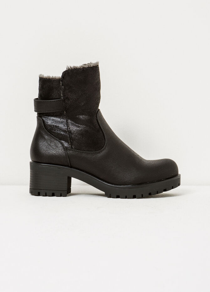 Hammered-effect ankle boots