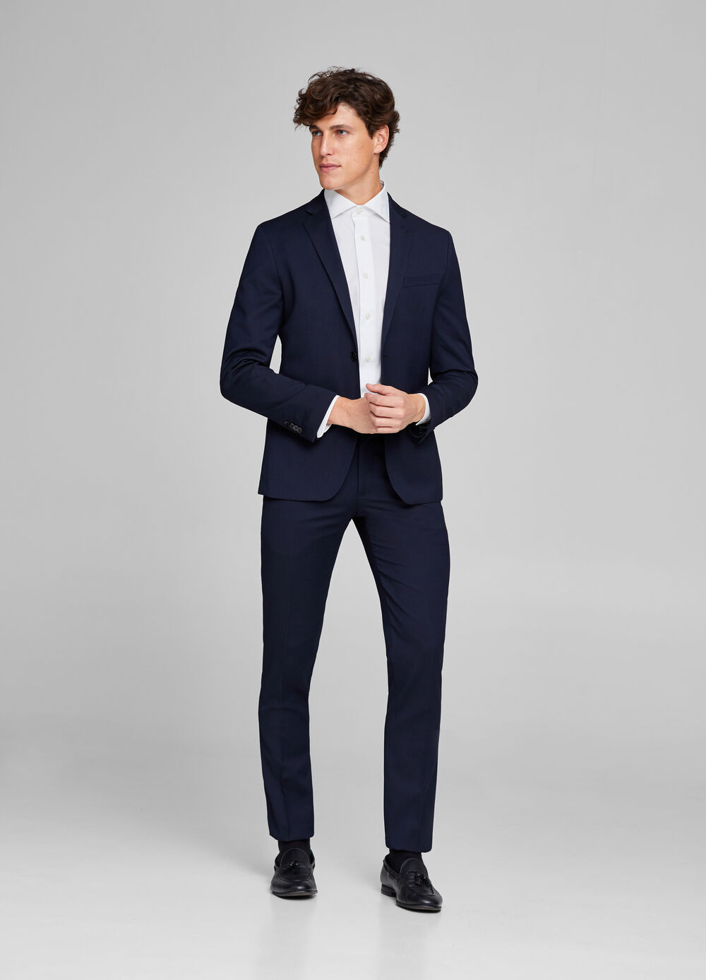 Solid colour elegant jacket in slim fit