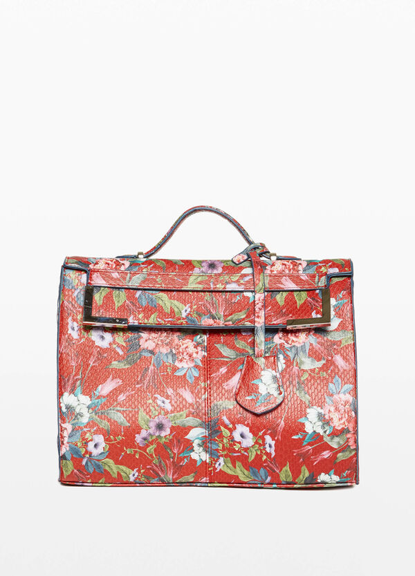 Handbag with floral shoulder strap