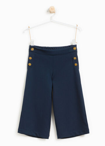 Stretch viscose blend trousers with buttons