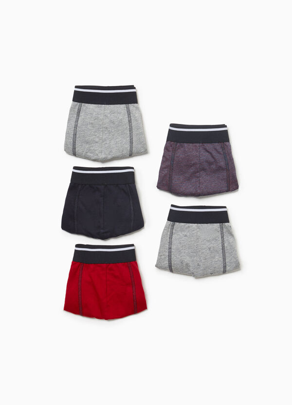 Five-pack cotton boxer shorts patterned and solid colour