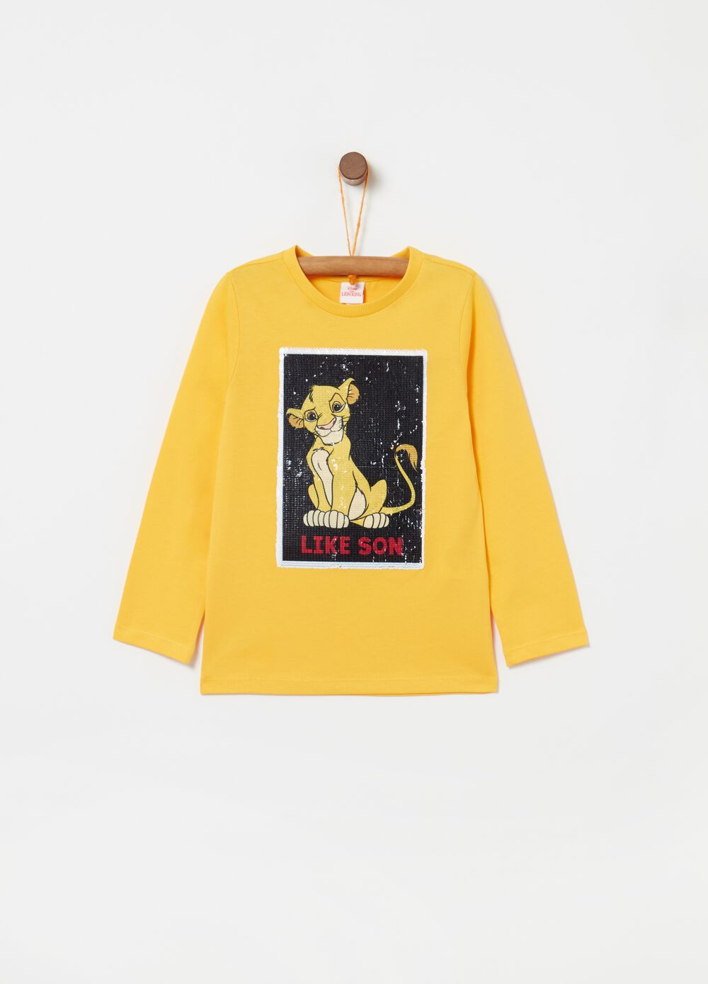Long-sleeved T-shirt with sequinned Simba