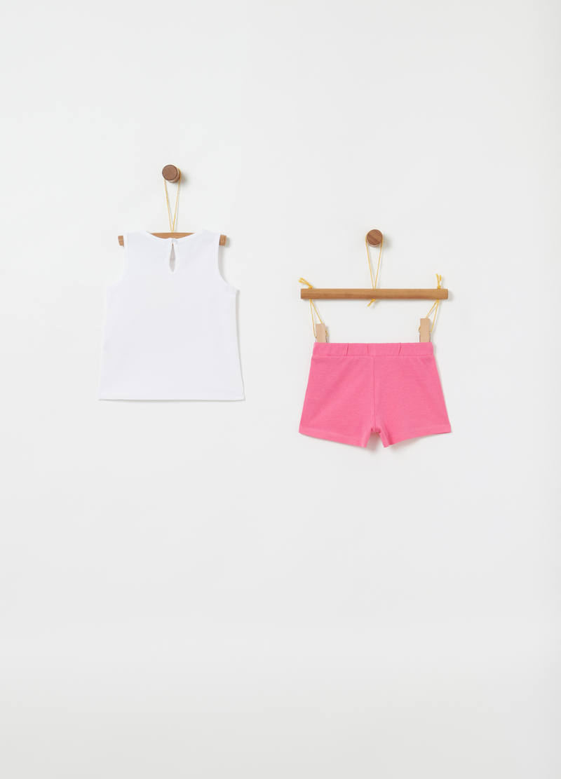 Jogging set tank top e shorts con stampa image number null