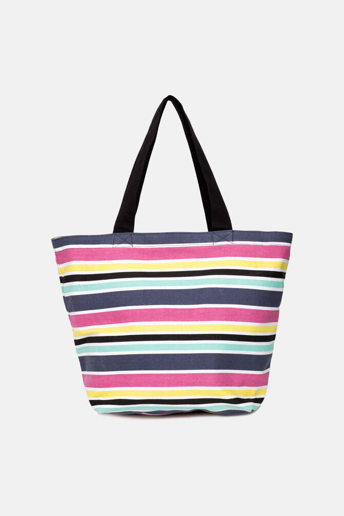 Striped fabric bag.