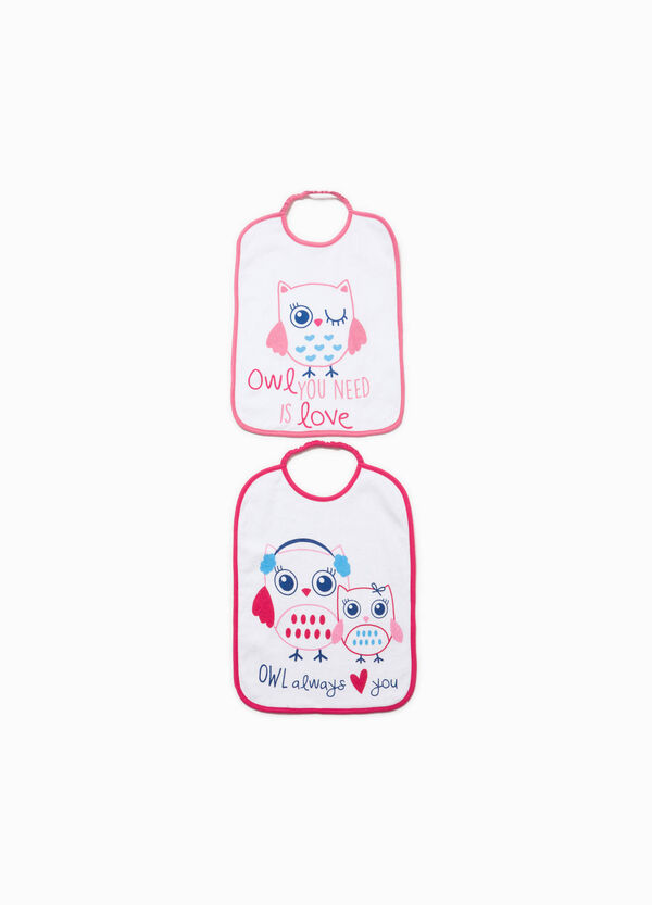 Two-pack printed bibs in 100% cotton