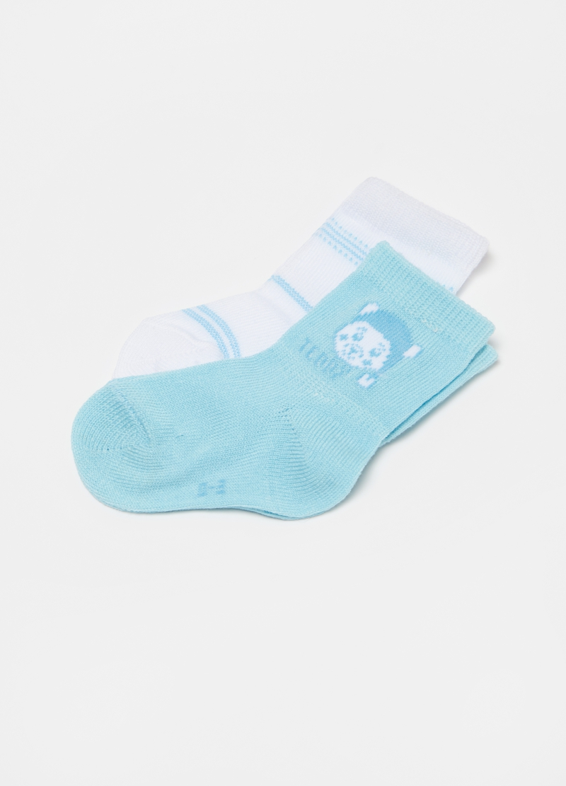 Two-pair pack short socks with teddy bear image number null