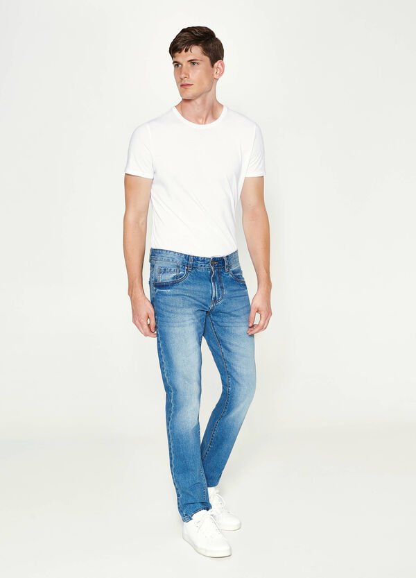 Jeans straight fit used con baffature | OVS
